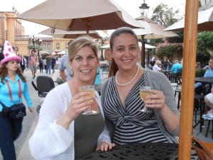 Jenn & I stopping at Italy on our Walking & Drinking Tour of Nations at EPCOT