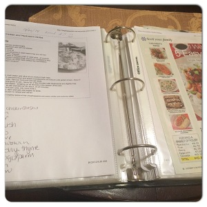 One of my recipe notebooks! FYI - Plastic sheet protectors are lifesavers when cooking! Not that I know from experience!